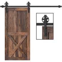 WINSOON 5-16FT Single Wood Sliding Barn Door Hardware Basic Black Big Spoke Wheel Roller Kit Garage Closet Carbon Steel Flat Track System (12FT)