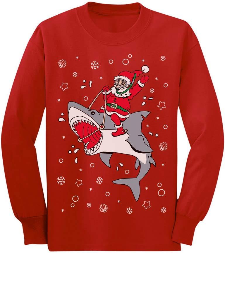 Santa Riding a Shark Ugly Christmas Holiday Toddler/Kids Long Sleeve T-Shirt