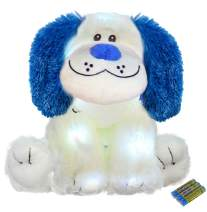 The Noodley Glow Puppy Stuffed Animal LED Plush Night Light for Kids Battery Operated Gift Toy for Valentines, Easter, Baby, Girlfriends, White Dog 16 inch