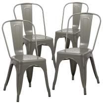 Duhome Set of 4 Stackable Metal Dining Chair Restaurant Cafe Kitchen Indoor Outdoor Metal Chair (Grey)