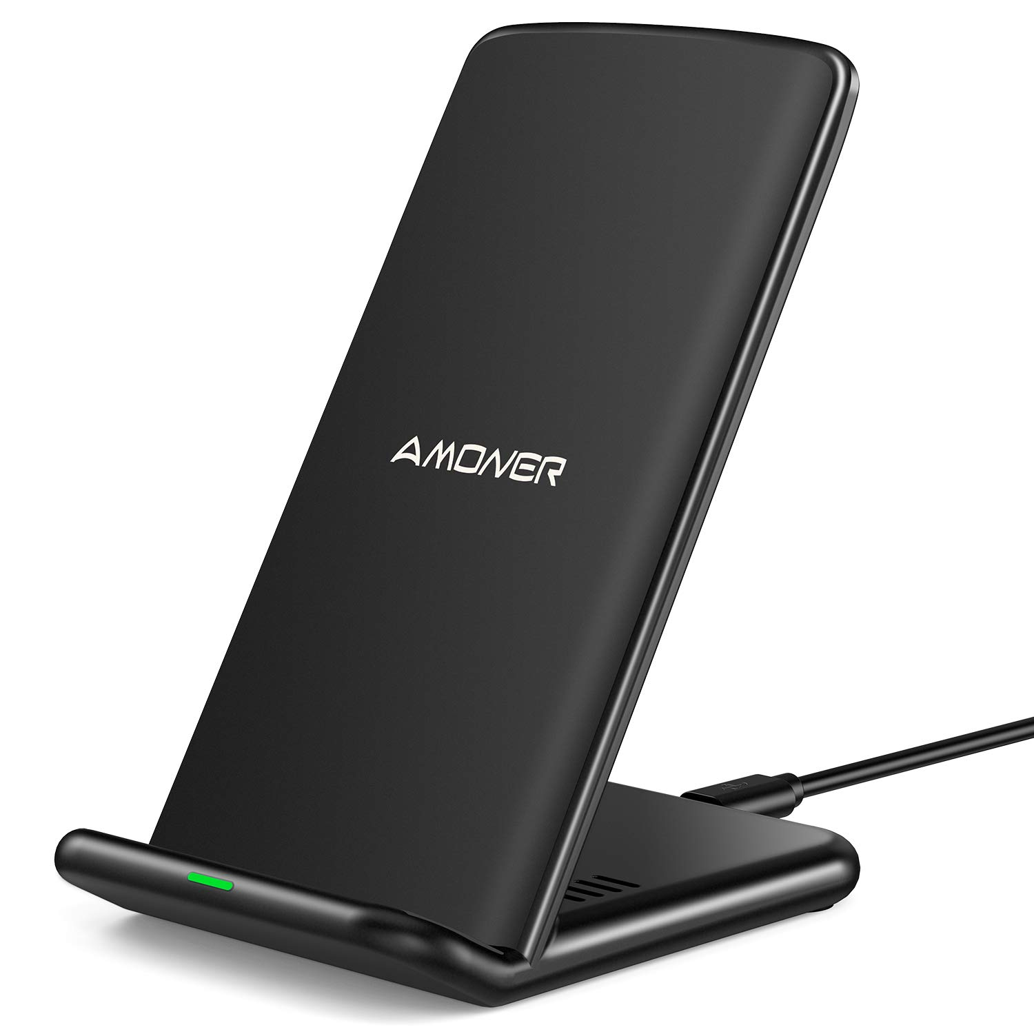 Amoner Wireless Charger, Qi-Certified 15W Fast Wireless Charging Stand Compatible with Galaxy S10/S9/S9+/S8/S8+, iPhone 11/11 Pro/11 Pro Max/Xs Max/Xs/XR/X/8/8Plus(No AC Adpater)