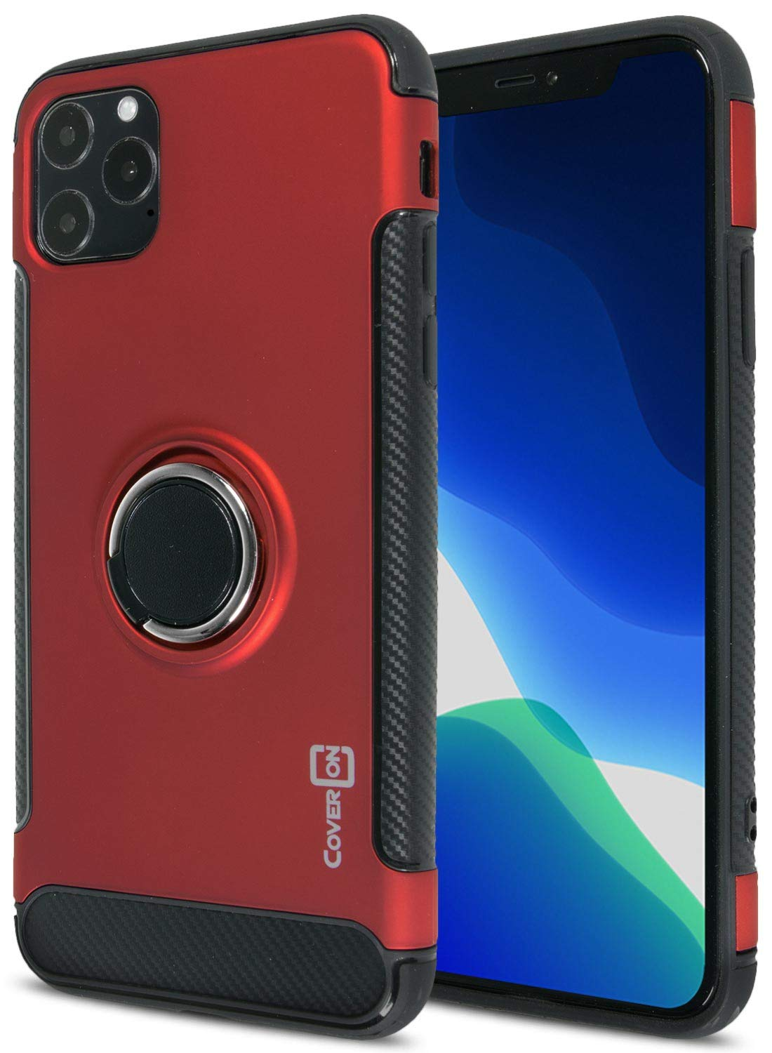 CoverON Ring Holder Kickstand with Metal Plate Magna Series for iPhone 11 Pro Max Case, Red