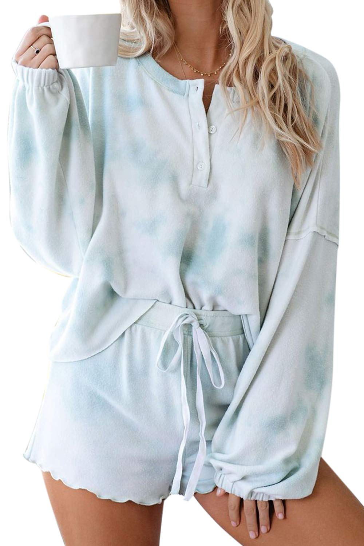 Pink Queen Womens Tie Dye Printed Frilled Pajamas Set Long Sleeve Tops Loungewear Nightwear