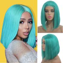 Human Hair Wig 180% Density Pre-Plucked 13X4 Lace Front Bob Wig Middle Part Straight Short Bob Lace Frontal Virgin Hair Bleached Knots with Baby Hair 14Inch Lake Blue for Black Women