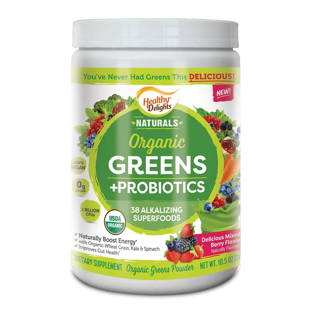 Healthy Delights Naturals, Organic Greens + Probiotics Powder, Naturally Boost Energy, USDA Organic, Delicious Berry Flavored, 30 Servings
