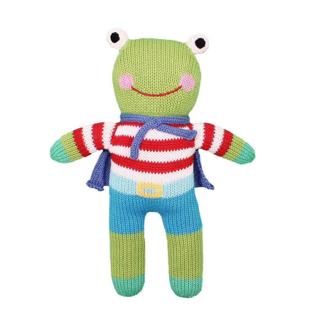 Zubels Baby Freddy The Frog Hand-Knit Plush Doll Toy, All-Natural Fibers, Eco-Friendly, 100% Cotton (7-Inch Rattle)