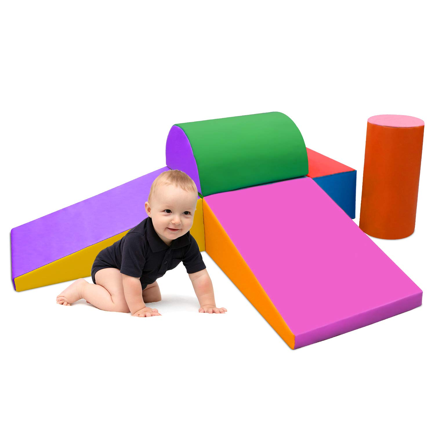 SURPCOS Climb and Crawl Activity Play Set, 6 Pieces Lightweight Foam Shapes for Climbing, Crawling and Sliding, Safe Foam Playset for Toddlers and Preschoolers, Multicolor