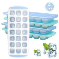 Ice Cube Trays with Lids 4 Pack - Plastic Ice Cube Moulds with Flexible Silicone Bottom - 21 Cavity Easy Release Ice Tray for Whiskey, Cocktail, Baby Food, Easy to Clean, BPA Free
