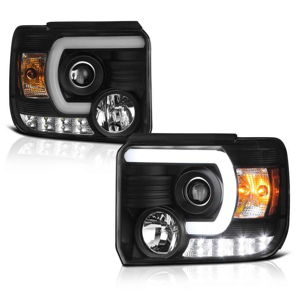 [For 2014-2018 GMC Sierra 1500 2500HD 3500HD Non-LED DRL Model] OLED Neon Tube Black Projector Headlight Headlamp Assembly, Driver & Passenger Side