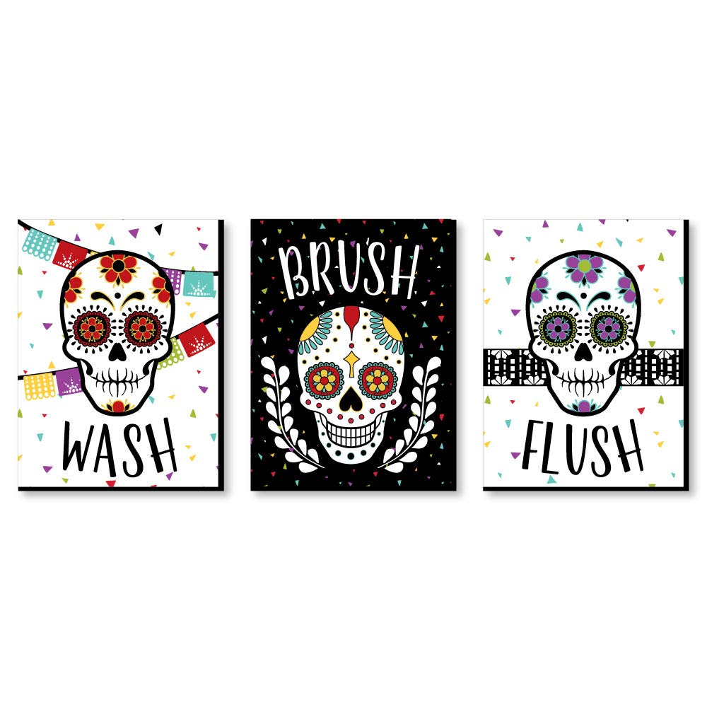 Big Dot of Happiness Day of the Dead - Kids Bathroom Rules Wall Art - 7.5 x 10 inches - Set of 3 Signs - Wash, Brush, Flush