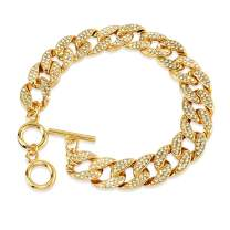 """HaHaGirl Gold Silver Plated Cuban Link Iced Out Two Line Rhinestones Bling Filled Chain Anklet for Women Girls Punk Hip-hop Ankle Bracelet 9"""" 10"""""""