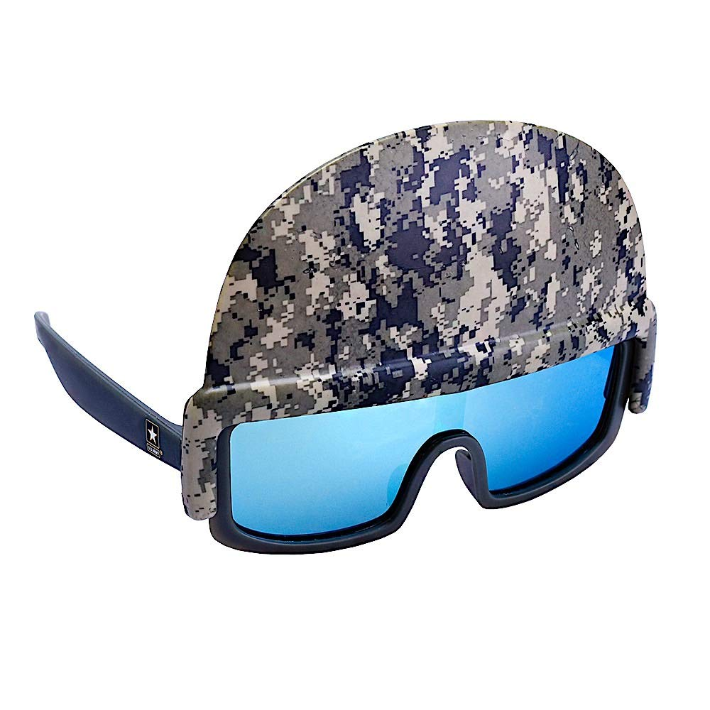Sun-Staches Licensed U.S. Army Soldier Helmet Shades Costume Party Favor Sunglasses UV400, One Size Camoflage