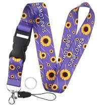 Yiflin Breakaway Sunflower Lanyard for Keys, Keychain, Wallet, Id Holder, Cell Phone, Badge Holder, for Men and Women, Teacher, Teens (Z4)