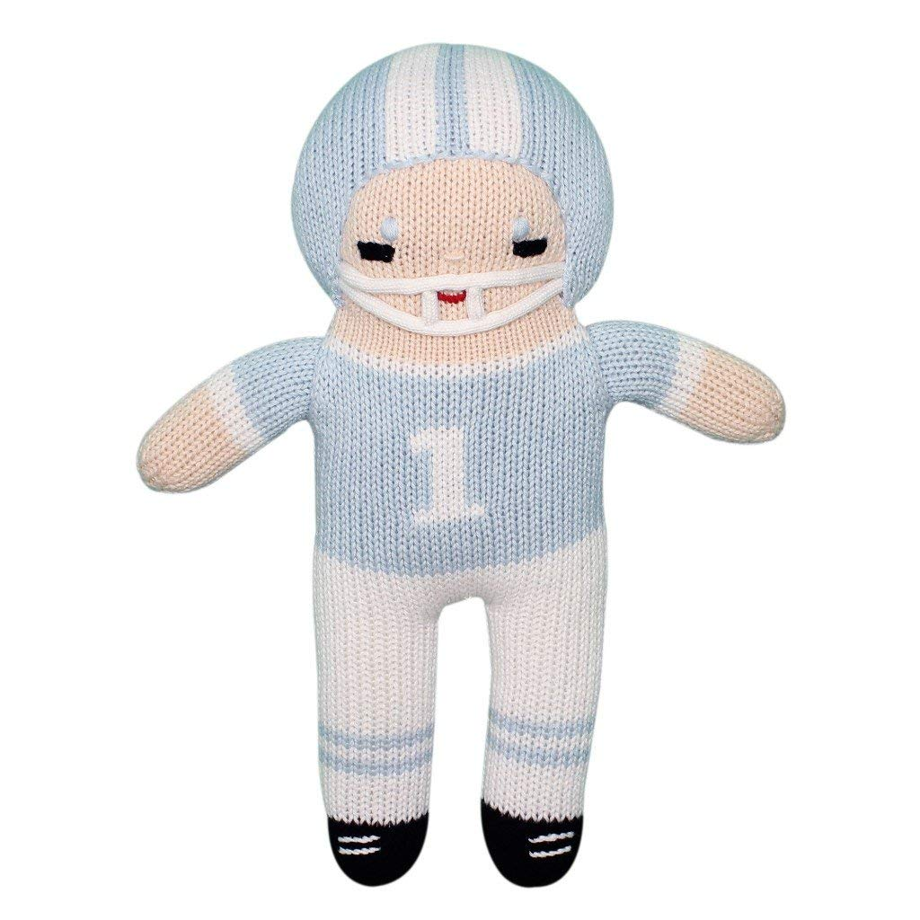 Zubels Baby Boys' Hand-Knit Football Player Plush Toy, All-Natural Fibers, Eco-Friendly, 12-Inch (Light Blue & White, 12-Inch Plush Toy)