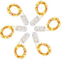 Pack of 6 Pcs Fairy Lights Battery Operated String Lights with 20 Micro LEDs 7.2ft Copper Wire LED Lights Firely Starry String Lights for Christmas Party Centerpiece Decor