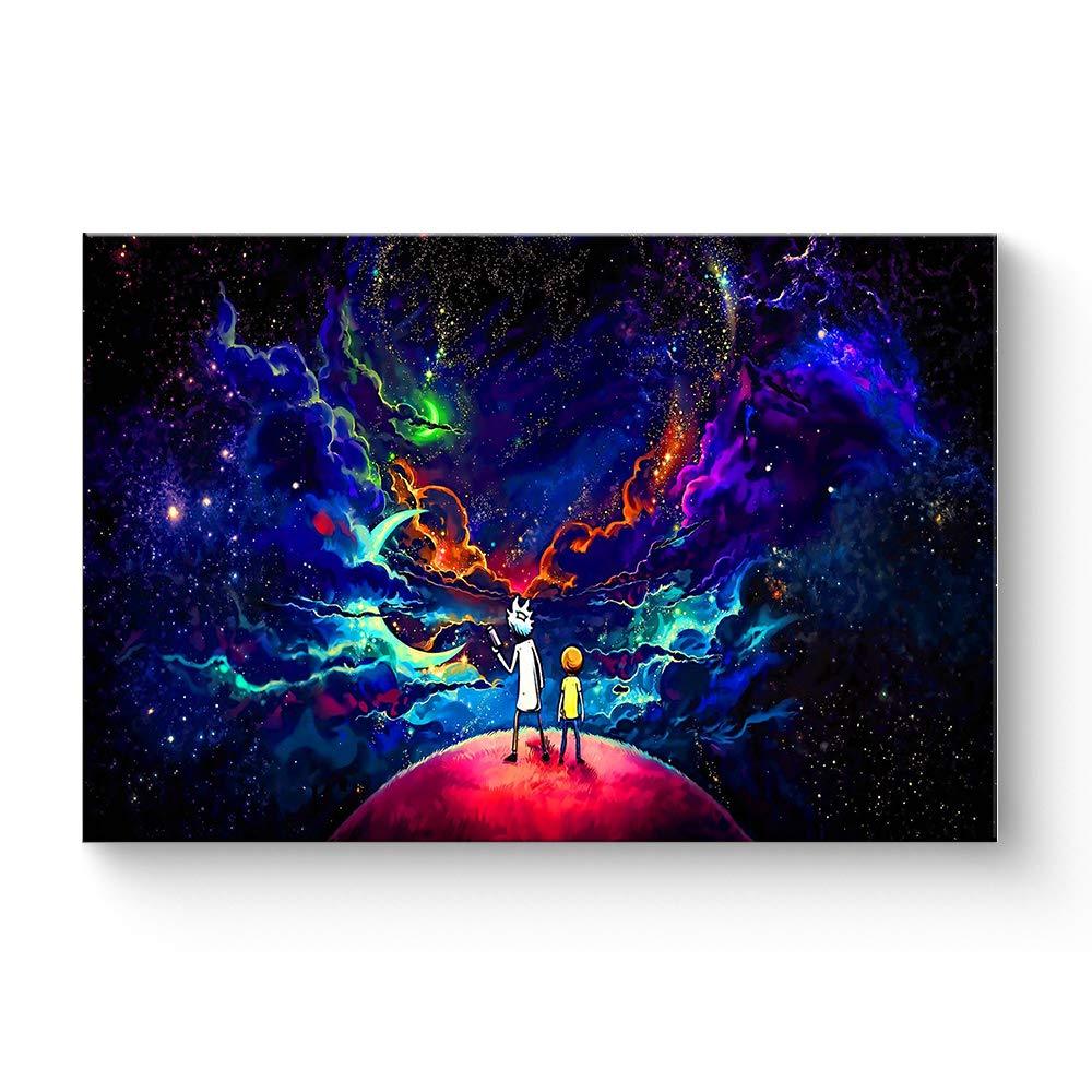 """HAOSHUNDA HSD Wall Art Rick and Morty Posters On Canvas Oil Painting Posters and Prints Decorations Wall Art Picture Living Room Wall Ready to Hang 12"""" x 18"""" 16"""" x 24"""" (12""""x18""""x1, Artwork-7)"""
