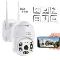 PTZ Camera Outdoor, 1080P Pan Tilt Wireless Security IP Camera, 5 dBi Antenna, 2.4G Home WiFi Camera, Weatherproof Video Surveillance CCTV Camera, Night Vision, Two Way Audio, Motion Detection