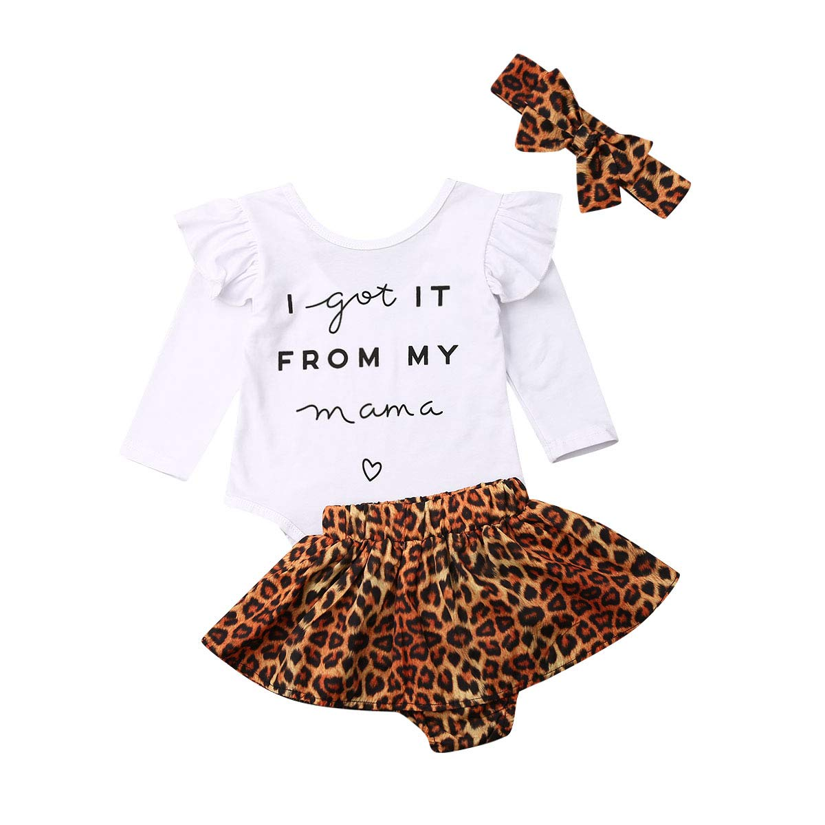 Newborn Baby Girls Clothes Mommy Saying Top Printed Romper Leopard Shorts Skirts+Headband Outfit Set