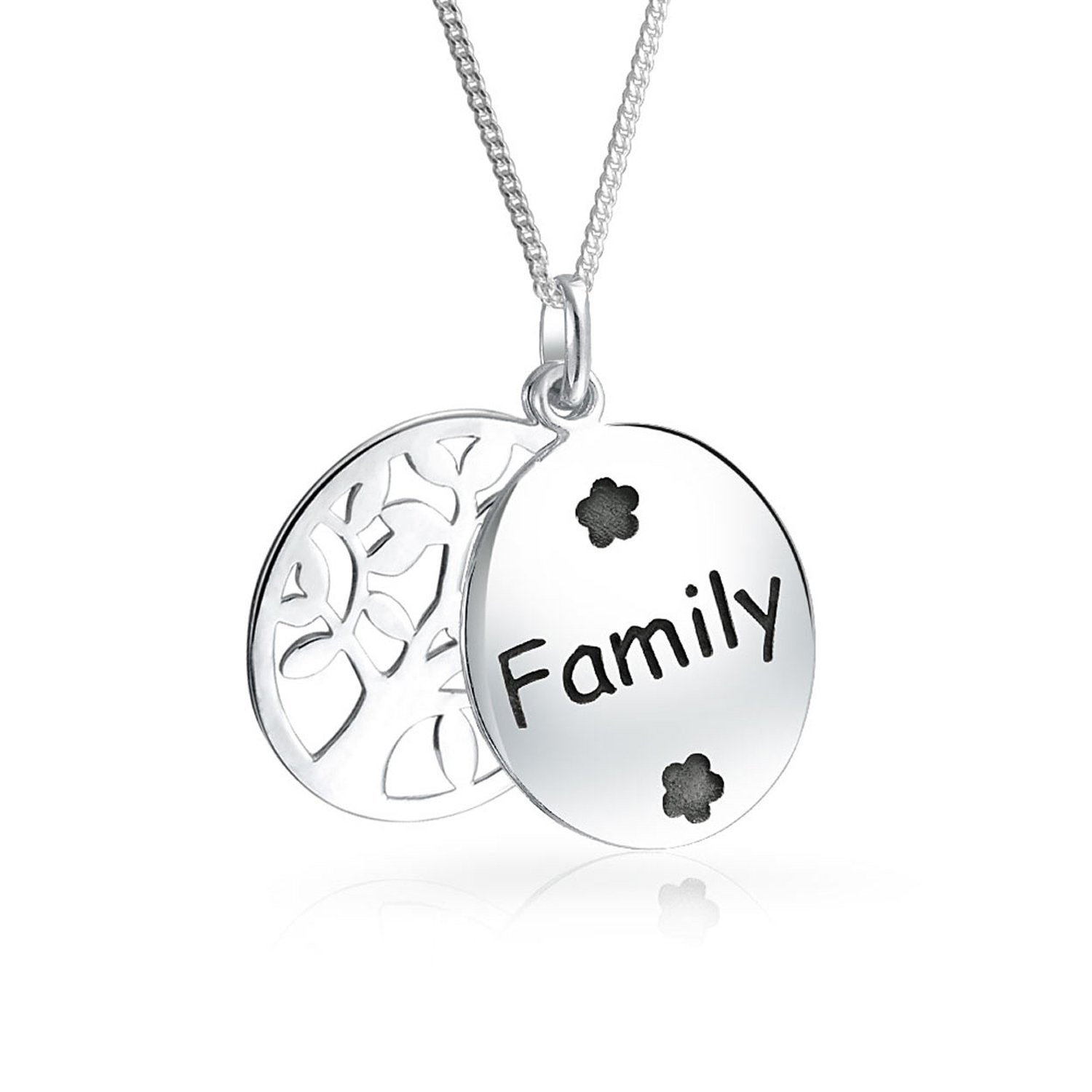 Oval Disc Family Circle Wishing Tree Of Life Pendant Necklace For Women Mothers Day Gift Sterling Silver Personalize