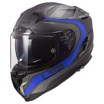 LS2 Helmets Challenger GT Full Face Street Helmet (Fusion Matte Titanium/Blue - X-Small)