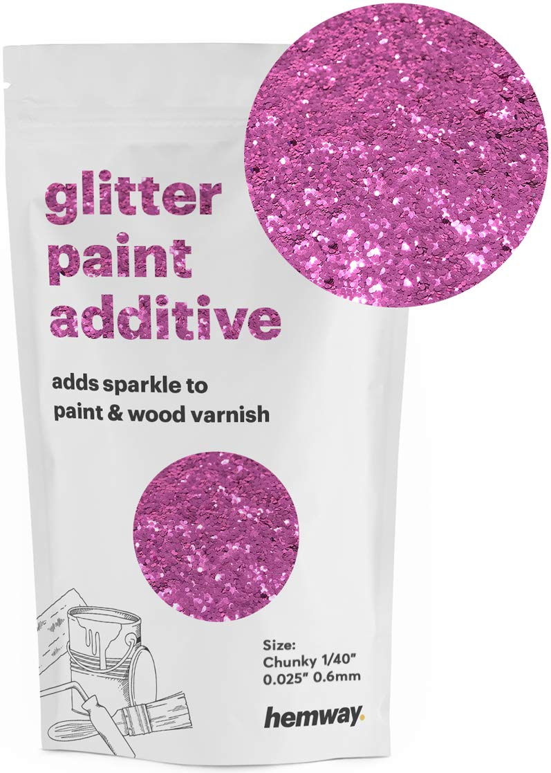"""Hemway Glitter Paint Additive Chunky 1/40"""" 0.6mm Emulsion Water Based Paints Wall Ceiling 100g / 3.5oz (Lavender)"""