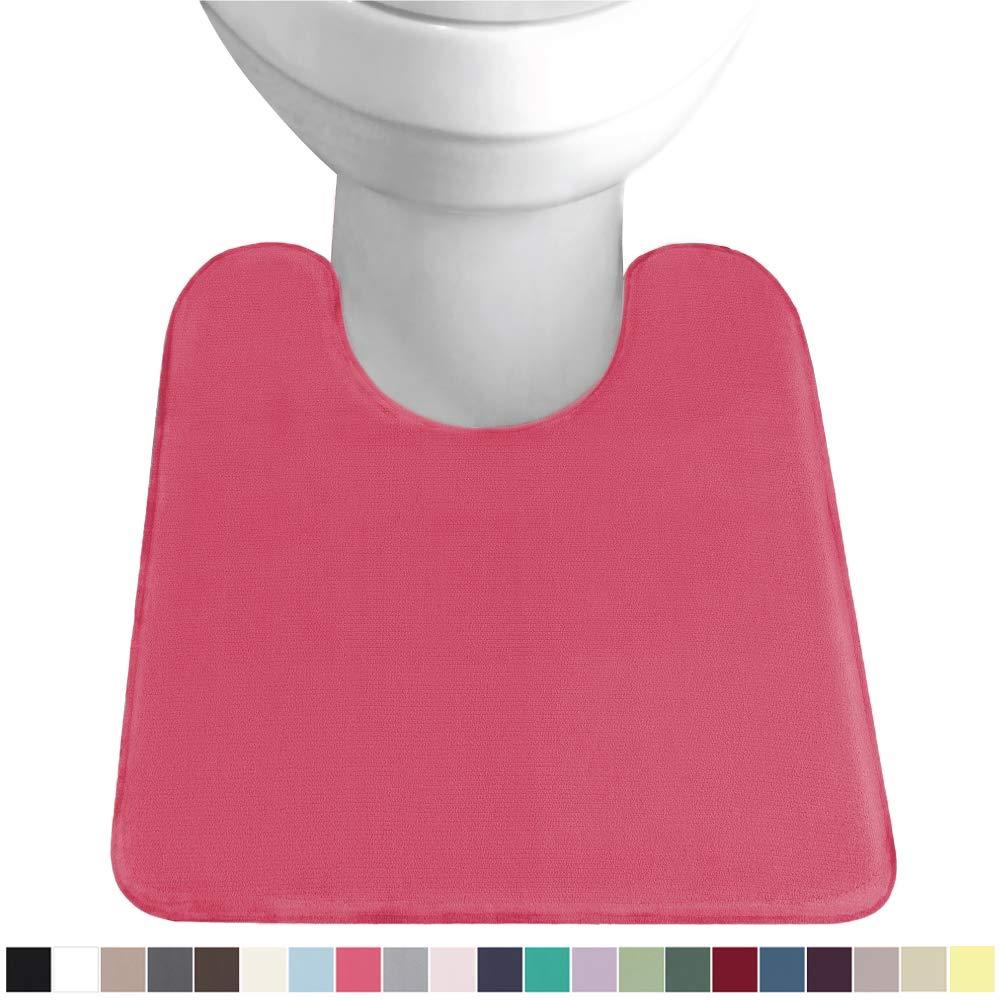 GORILLA GRIP Original Thick Memory Foam Contour Toilet Bath Rug 22.5x19.5, U Shape, Cushioned, Soft Floor Mats, Absorbent Cozy Bathroom Mat Rugs, Machine Wash and Dry, Plush Bath Room Carpet, Hot Pink