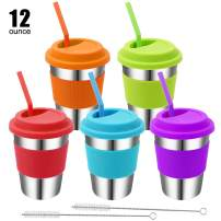 Rommeka Kids Stainless Steel Cups, 5 Pack Colorful Drinking Tumbler Sippy Cup with Silicone Lids and Straws Metal Mugs for Toddlers, Children and Adults - 12oz