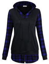 Faddare Plaid Hoodie, Ladies Vintage Lattice Back to School Drawstring Sweatshirt Tops with Side Pockets,Black Blue XL