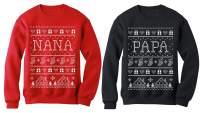 Nana & Papa Matching Ugly Christmas Sweatshirts Set Xmas Gift for Grandparents