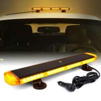Xprite 21 Inch 54 LED Amber Emergency Warning Traffic Advisor Strobe Light Bar w/Mounting Bracket, 16 Flashing Patterns for Snowplow, Tow Trucks, Construction Vehicle Rooftop Safety