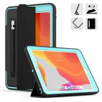 DUNNO New 10.2 Case 2019, Hybrid Leather Three Layer Heavy Duty Smart Cover with Auto Sleep/Wake Pencil Holder Stand Feature Design for iPad 7th Gen 10.2 Inch 2019 (Black/Light Blue)