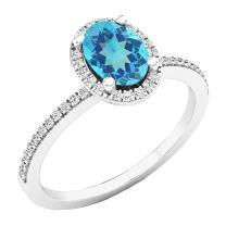 Dazzlingrock Collection 10K 7X5 MM Oval Gemstone & Round White Diamond Bridal Halo Engagement Ring, White Gold