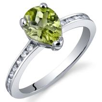 Uniquely Sophisticated 1.00 Carats Peridot Ring in Sterling Silver Rhodium Nickel Finish Sizes 5 to 9