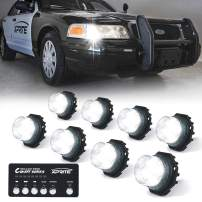 Xprite White LED Hideaway Strobe Lights Kit 20 Flash Patterns Hazard Warning Light for Trucks, Police Cars, Emergency Vehicles - 8PCS