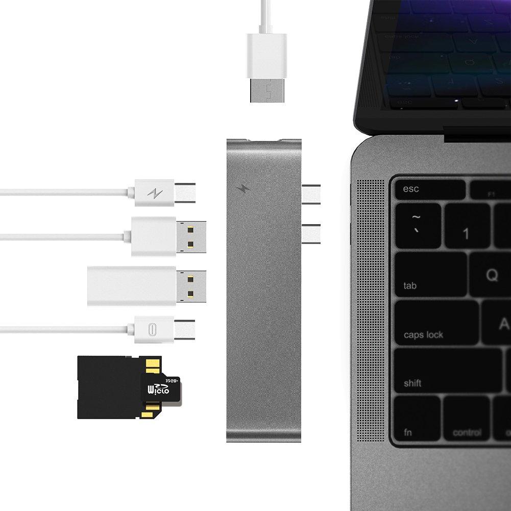 Lovicool USB Type-C Hub MacBook Pro Thunderbolt 3 Port with HDMI 40Gbs, 4K HDMI Charging Data Transmission Port Video Output,USB-C, SD/Micro Card Reader,USB 3.0 Port(Space Grey)[Enhanced Version 2018]