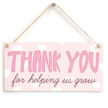"Meijiafei Thank You for Helping us Grow - Lovely Thank You Carer Or Thank You Teacher Gift Plaque 10""x5"""