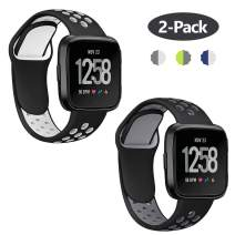 Lintelek Silicone Replacement Bands Compatible with Fitbit Versa, Friendly Wristband Breathable Soft Bands Washable Straps for 5.5-8.5 Inches, Quick Drying