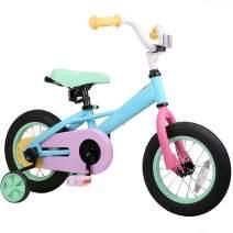 "JOYSTAR 12"" 14"" 16"" Kids Bike for 2-7 Years Girls 33-53 inch Tall, Girls Bicycle with Training Wheels & Coaster Brake, 85% Assembled, Macarons"