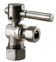 Westbrass R105BL-07 Angle Stop, 5/8 in. OD x 3/8 in. OD-1/4-Turn Lever Handle, Satin Nickel