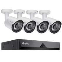 KingkongSmart Home Security Camera System, 5MP 8CH POE NVR Recorder, 4pcs Audio Surveillance POE IP Camera Outdoor, 2592X1944P 3.6mm Lens 100ft Night Vision IP67 Waterproof Motion Alert H.265 (White)