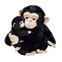 Wild Republic Mom and Baby Chimpanzee, Stuffed Animal, 12 inches, Gift for Kids, Plush Toy, Fill is Spun Recycled Water Bottles