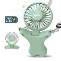 Necklace Fan, EasyAcc Hand Free Fan 3350mAh Rechargeable Battery Fan 3 Speed 3-17 Hours Adjustable 100° Angle Personal Fan Built-in Night Light USB Fan Cooling Fan for Camping Outdoors Travel - Green