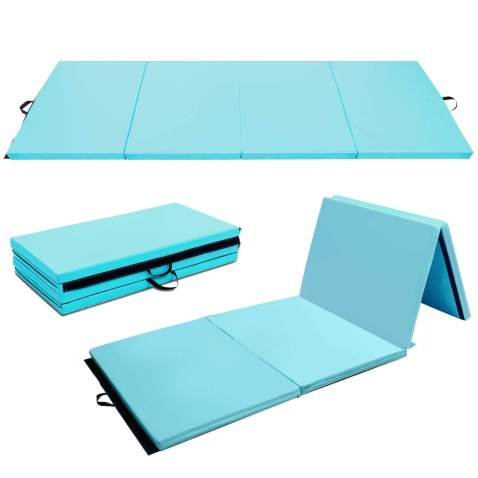 4X8X2 Gymnastic Mat Durable Folding Gymnastic Mat Tumbling Exercise Yoga Fitness PU Leather for Kids Ladies