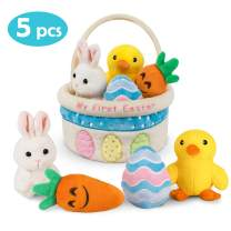 Ivenf My First Easter Basket Playset, 5ct Stuffed Plush Bunny Chick Carrot Egg for Baby Girls Boys, Easter Theme Party Favors Stuffers Gifts, Easter Decorations Party Supplies