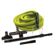 ZVac Universal Central Vacuum Deluxe Accessory Kit for Central Vacuum Systems with 50ft Standard Crush-Proof Hose & Metal Wand for Garage Units & Work Stations - Lime