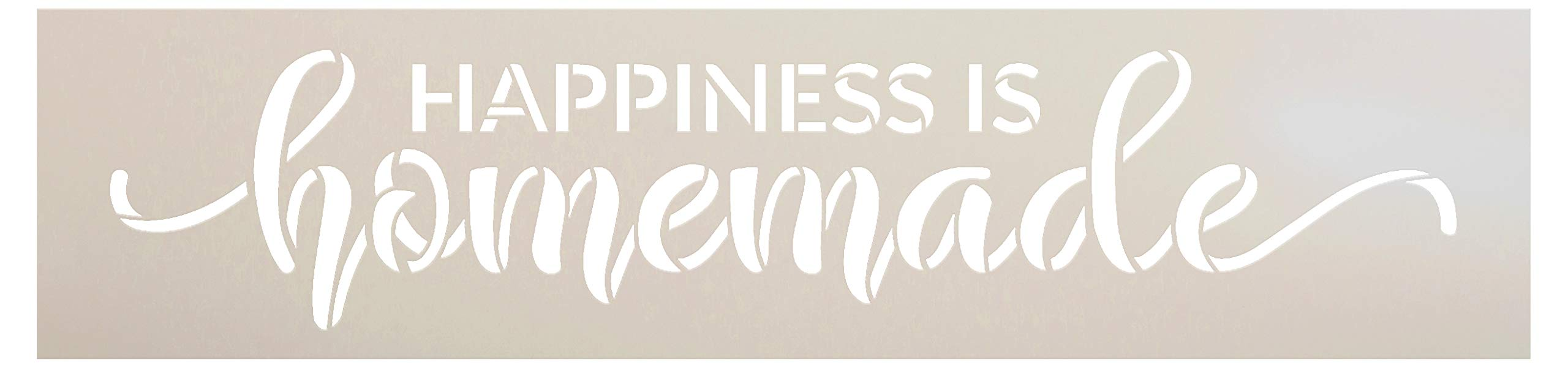 Happiness is Homemade Stencil by StudioR12 | Reusable Mylar Template | Paint Wood Sign | DIY Rustic Home Decor | Craft Cursive Script Word Art Gift - Family - Friend | Select Size (15 x 3.5)