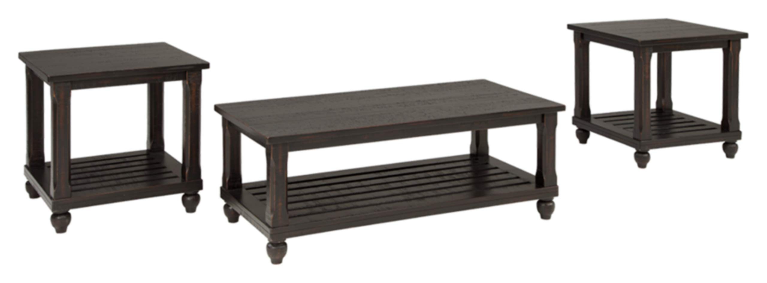 Signature Design by Ashley - Mallacar Contemporary 3-Piece Table Set - Includes Coffee Table & 2 End Tables - Dark Wood