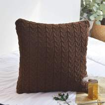 LakeMono 100% Cotton Knit Cushion Covers Decorative Stretchable Pillow Case for Living Room/Car/Office(Deep Coffee,18'' x18''-20''x20'')