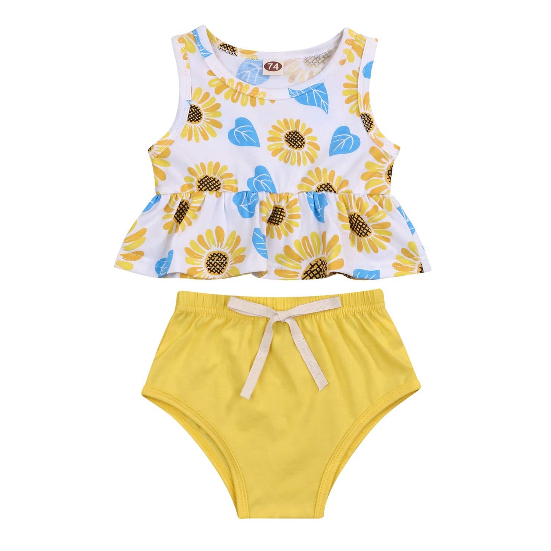 Newborn Baby Girls Summer Clothes Short Set Watermelon Sunflower Sleeveless Dress Top Shorts Outfits