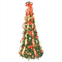 6' Red Poinsettia Pull-Up Tree by Holiday PeakTM